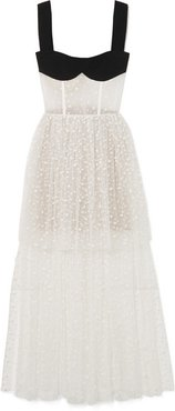 Tiered Flocked Tulle And Crepe Gown - White