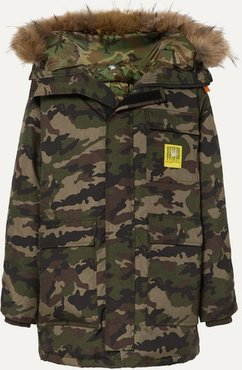 Hooded Faux Fur-trimmed Camouflage-print Shell Down Parka - Army green