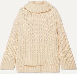 Oversized Wool, Silk And Cashmere-blend Turtleneck Sweater - Cream