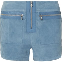 Leather-trimmed Suede Shorts - Blue
