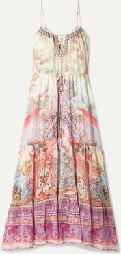 Tiered Embellished Printed Silk Crepe De Chine Maxi Dress - Pink