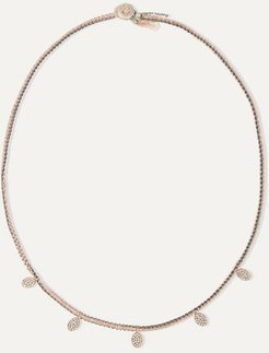 Sterling Silver, 14-karat Rose Gold, Silk And Diamond Necklace