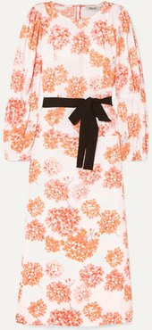 Belted Floral-print Cotton Dress - Orange