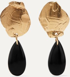 Shadow Of A Woman Gold-plated Onyx Earrings