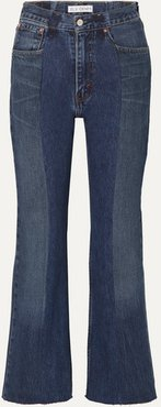 Net Sustain The Twin Cropped Two-tone Distressed High-rise Flared Jeans - Mid denim