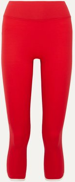 Vinyl Record Cropped Striped Stretch Leggings - Red