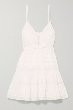 Honour Tiered Lace-trimmed Swiss-dot Cotton-voile Mini Dress - Ivory