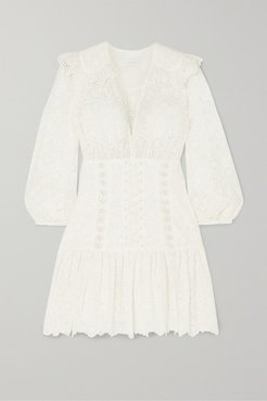 Honour Lace-up Broderie Anglaise Cotton Mini Dress - Ivory