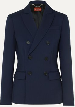 Indiana Double-breasted Wool-blend Blazer - Navy