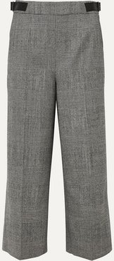 Charlie Cropped Leather-trimmed Prince Of Wales-checked Wool-blend Wide-leg Pants - Black