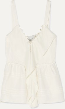 Faux Pearl-embellished Ruffled Crepe Camisole - Off-white