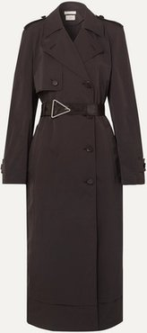 Belted Double-breasted Shell Trench Coat - Brown