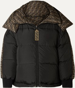 Reversible Quilted Printed Shell Down Jacket - Black