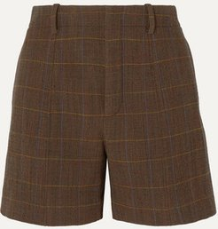 Checked Wool-blend Shorts - Brown