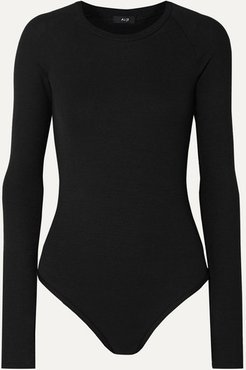 Colby Ribbed Stretch-modal Jersey Thong Bodysuit - Black