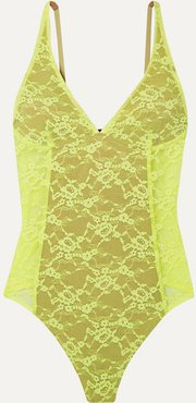 Classon Neon Stretch-lace Thong Bodysuit - Chartreuse