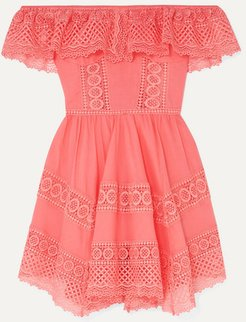 Vaiana Crocheted Lace-paneled Cotton-blend Mini Dress - Coral