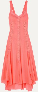 Heart Crocheted Lace-paneled Cotton-blend Voile Dress - Coral