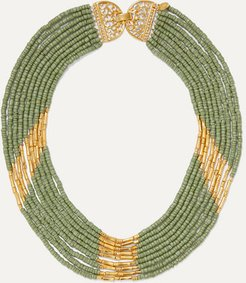 Mitu Gold-plated And Bead Necklace - Green