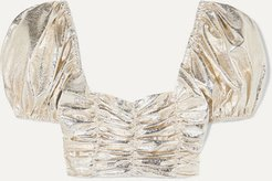 Vegas Cropped Ruched Metallic Crinkled-vinyl Top - Gold
