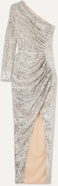 One-shoulder Ruched Sequined Tulle Gown - Silver