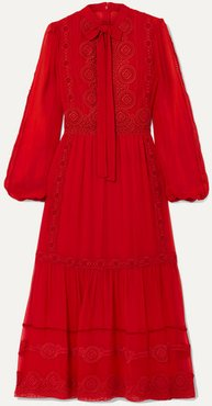 Pussy-bow Crochet-trimmed Silk-blend Crepe De Chine Midi Dress - Red