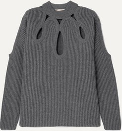 Cutout Ribbed Wool And Cashmere-blend Sweater - Gray