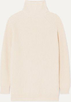 Ribbed And Waffle-knit Wool And Cashmere-blend Turtleneck Sweater - Cream