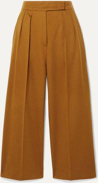 Cropped Pleated Camel Hair Wide-leg Pants