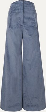 Bay Cotton-corduroy Wide-leg Pants - Blue