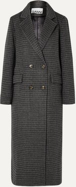 Double-breasted Checked Wool-blend Coat - Gray