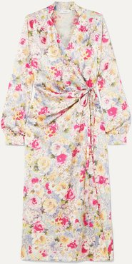 Michelle Gathered Floral-print Satin Wrap Dress - Pink