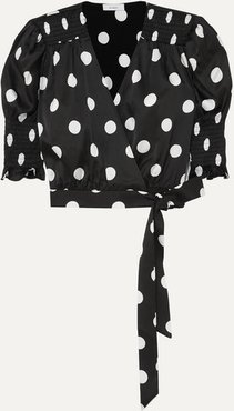 Eva Smocked Wrap-effect Polka-dot Satin Wrap Top - Black