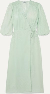 Sophia Polka-dot Silk-jacquard Wrap Dress - Mint