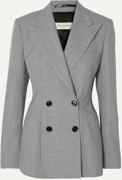 Bloom Double-breasted Woven Blazer - Light gray