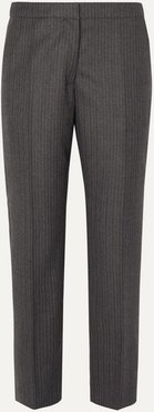 Poumas Pinstriped Wool Tapered Pants - Dark gray