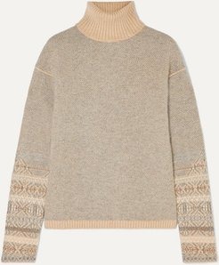 Fair Isle Cashmere Turtleneck Sweater - Light gray