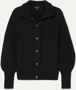 Cable-knit Wool-blend Cardigan - Black