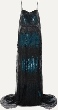 Draped Embellished Tulle Gown - Teal