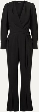 Crepe Wrap Jumpsuit - Black