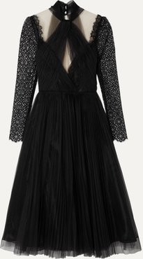 Pleated Tulle And Lace Dress - Black