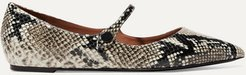 Hermione Snake-effect Leather Point-toe Flats - Snake print