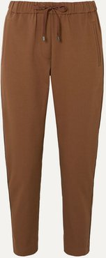 Bead-embellished Cropped Stretch Cotton And Wool-blend Tapered Track Pants - Camel