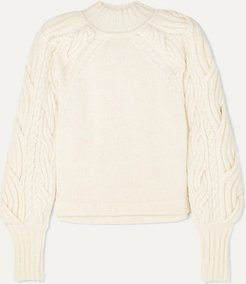 Cable-knit Organic Cotton-blend Sweater - White