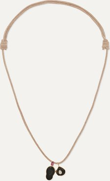 Leather Multi-stone Necklace - Rose gold