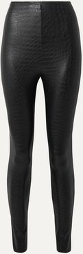 Croc-effect Faux Stretch-leather Leggings - Black