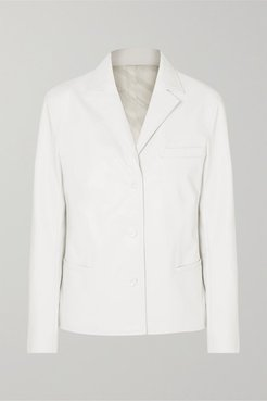 Cabin Faux Leather Blazer - White