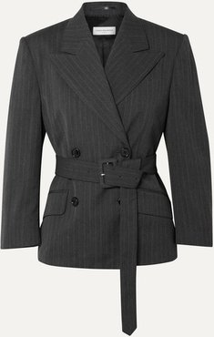 Belted Double-breasted Pinstriped Twill Blazer - Dark gray