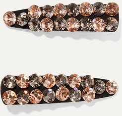 Monique Set Of Two Crystal-embellished Canvas Hair Clips - Black