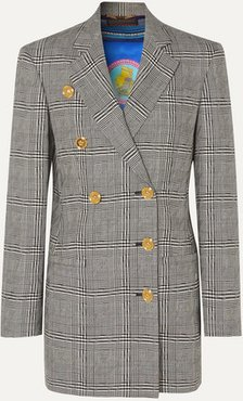 Button-embellished Prince Of Wales Checked Wool Blazer - Gray